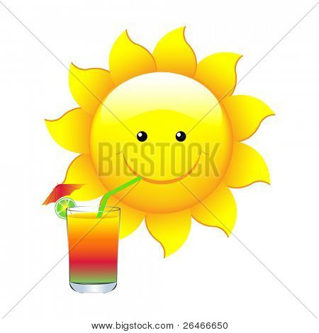 Sun With Cocktail, Vector Illustration