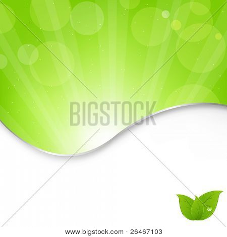 Abstract Nature Green Background With Beams, Vector Illustration