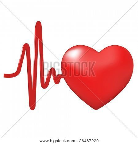 Heart Beats, Isolated On White Background