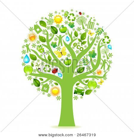 Eco Tree, Isolated On White Background, Vector Illustration
