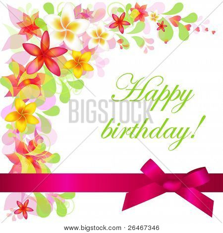 Happy Birthday Card, Isolated On White Background, Vector Illustration