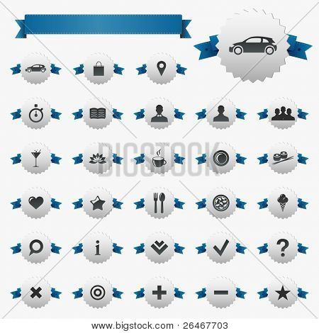 Web And Map Icons With Ribbons, Isolated On White Background