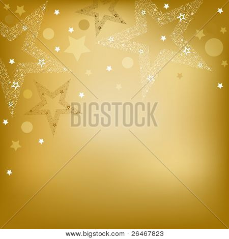 Golden  Background With Stars, Vector Illustration