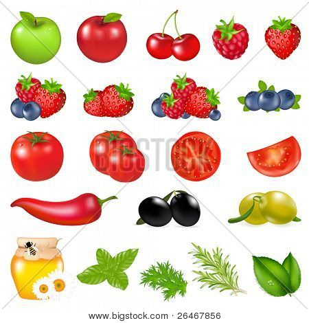 Fruits And Vegetables, Isolated On White Background, Vector Illustration