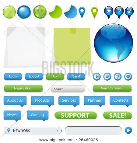 Collection Of Website And GPS Navigation Elements For Your Web Projects, Isolated On White Background