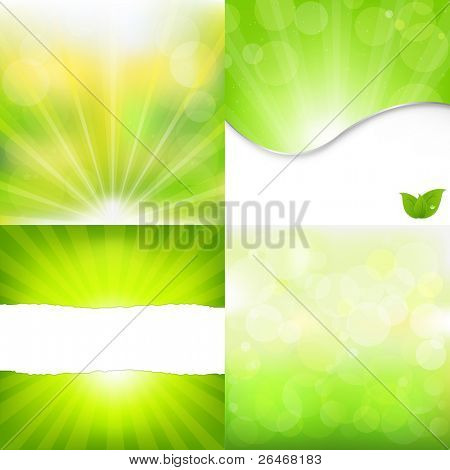 4 Green Nature Backgrounds, Vector Illustration