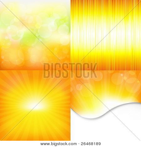 4 Orange And Yellow Backgrounds, Vector Illustration