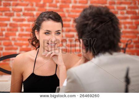 Woman having in an interesting conversation