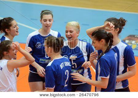 KAPOSVAR, HUNGARY - OCTOBER 23: Kaposvar players before a Hungarian NB I. League woman volleyball game Kaposvar vs Bekescsaba, October 23, 2011 in Kaposvar, Hungary.
