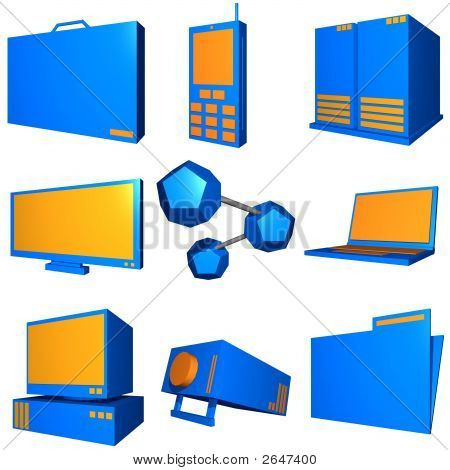 Information Technology Business Industry Icons Set - Orange Blue