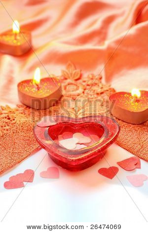 Valentine heart with red candles