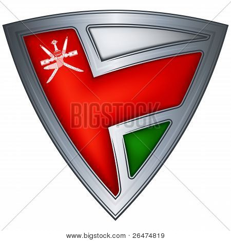 Steel shield with flag Oman