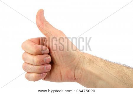 Hand close-up isolated over white background