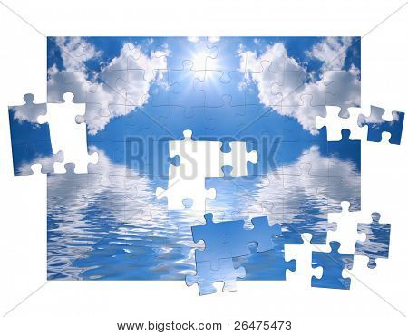 Blue sky and reflection in water as of puzzle