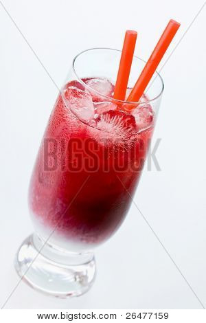 Black currant cocktail with batida de coco on white
