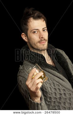 Man Holding A Glass