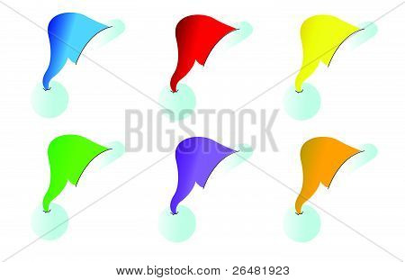 Santa hats in different colors over a white background