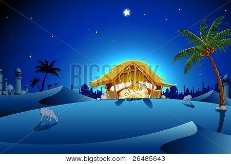 illustration of nativity scene showing birth of Jesus