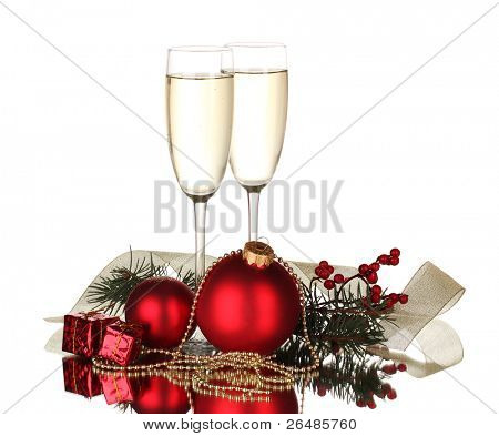 Two glasses with christmas decoration on white background