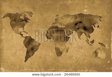 Ilustración del mapa del mundo vintage sobre fondo grunge