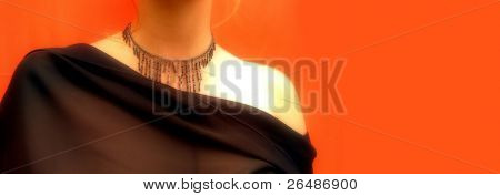 Detail of a girl wearing fashion necklace