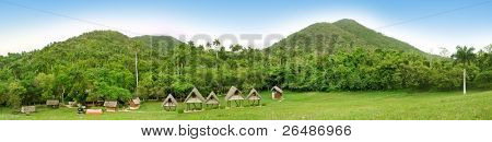 Tropical vegetation panorama with mountains and rustic cabins