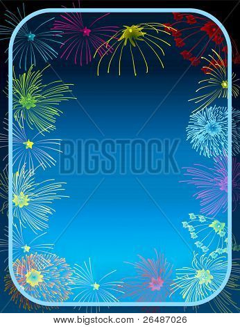 illustration of Fireworks border