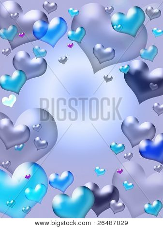 Illustration of purple hearts - valentine card background