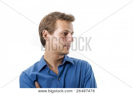 Portrait of young handsome caucasian man isolated over white