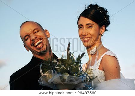 Happy bride and groom on wedding dat