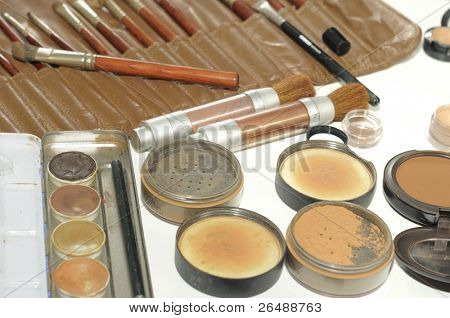 Professional make up artist set of brushes and powders