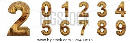 High resolution conceptual golden fonts set or collection isolated on white background, made of yellow metal similar to gold ideal for vintage,grungy,technology or holiday designs