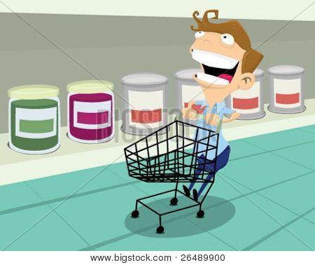 Man having fun at the supermarket.