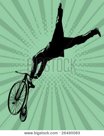 Jumping with an old bicycle.
