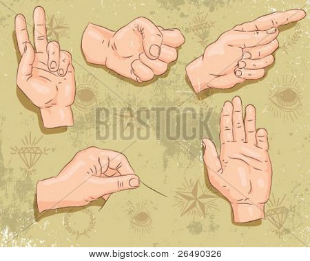 group of hands.