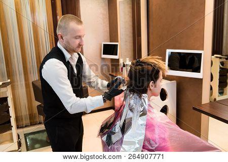 poster of Professional Male Hairdresser Choose Hair Dye Color At Modern Salon, Female Customer Change Hair Col