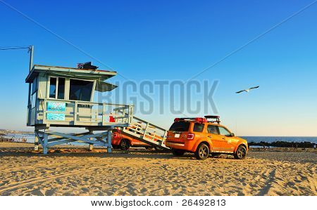 VENICE, CA - OCTOBER 17: Lifeguard tower in Venice Beach on October 17, 2011 in Venice, CA. Venice Beach is the headquarters of Los Angeles County Lifeguards, that has 158 lifeguard towers like this