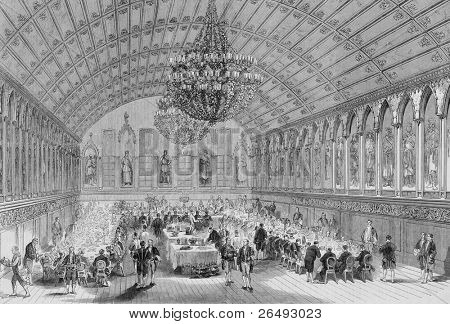 Congress of German Sovereigns at Frankfort. Engraved by anonymous engraver and published in the Illustrated London News, United Kingdom, 1863.