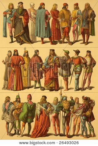 15th Century Italian Costumes. Engraved by Fr.Hottenroth and published in Trachten, Haus, Feld und Kriegsgerathschaften der Volker alter und neuer Zeit, Germany, 1890.