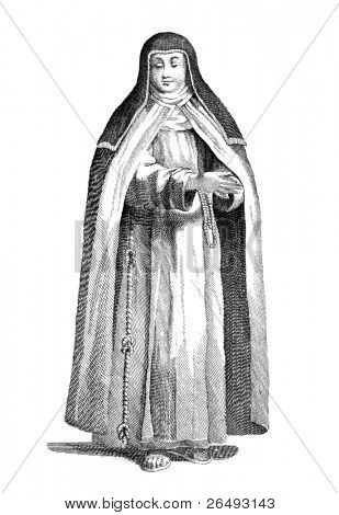 A capuchin nun. Engraved by P.Bonanni and published in A Collection of the Dresses of Different Nations, Ancient and Modern, Volume 4, United Kingdom, 1772.