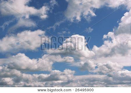 Alto cumulus clouds in a blue sky