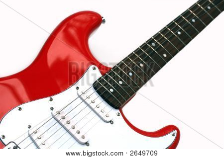Close Up Detail Of An Electric Lead Guitar With Six Strings, Isolated Over White