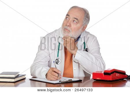 Pensive family doctor in the oficce isolated on white background