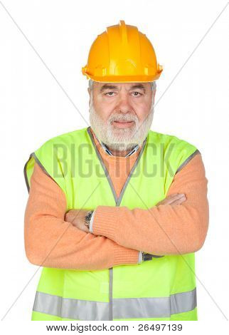 Senior inspector with hoary hair isolated on white background