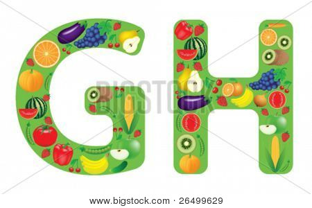 Vector illustration of vegetables and fruits