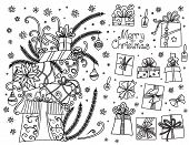 Doodle Set Of Christmas Presents. Hand Drawn Cartoon Gift Boxes In Various Shapes And Pile Of Holida poster