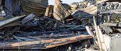 Damaged Industry Supermarket Metallic Facade After Arson Fire With Burnt Debris After Intense Burnin poster