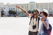 African-american Couple Of Tourists Sightseeing In City, Copy Space poster