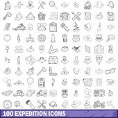 100 Expedition Icons Set In Outline Style For Any Design Illustration poster