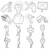 Protest Items Icons Set. Outline Illustration Of 16 Protest Items Icons For Web poster